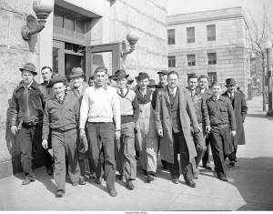 Just a few of the nearly 500 people arrested on one Sunday in 1941 for breaking Delaware's blue laws, at the Wilmington police station.