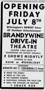 1949 newspaper advertisement for Delaware's first drive-in theater.
