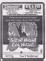 The R-rated slasher film Silent Night Evil Night showing at a Delaware Drive-In in 1975