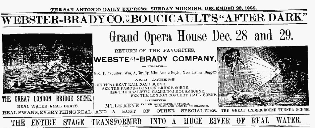 "Ad for the 1888 Webster-Brady Company touring production of After Dark, featuring Laura Biggar. The ""Great London Bridge Scene"" featured Laura's rescue from a large tank of water on stage."